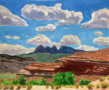 15x18 - Watercolor - Clouds Over Mesas - $1,400