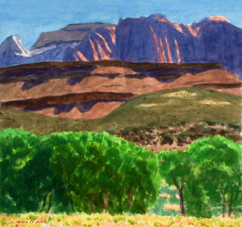 15x18 - Watercolor - Shadowed Hills at Zion - $1,400