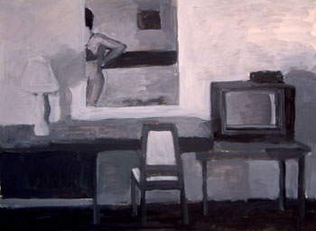 22 x 30 - Acrylic On Paper - Hotel Room - $2,200
